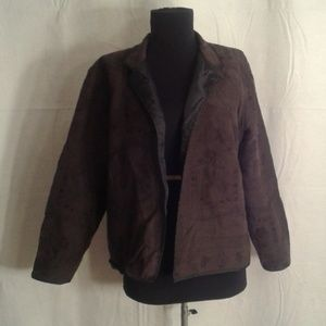 Chico's 1 embroidered jacket medium 8 brown